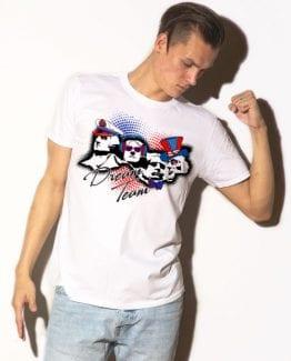 Dream Team Graphic T-Shirt - white shirt design on a model