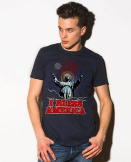 I Bless America Graphic T-Shirt - navy shirt design on a model