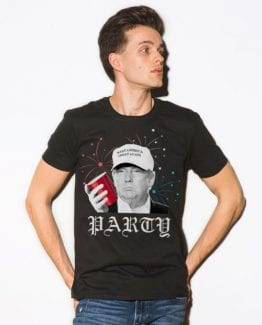 Party Donald Trump Graphic T-Shirt - black shirt design on a model