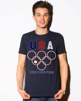 USA Beer Pong Team Graphic T-Shirt - navy shirt design on a model