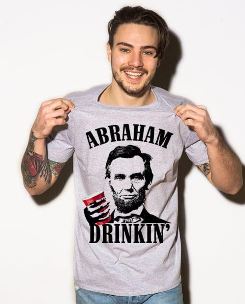Abraham Drinkin' Graphic T-Shirt - gray shirt design on a model