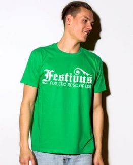 Festivus For The Rest Of Us Graphic T-Shirt- green shirt design on a model