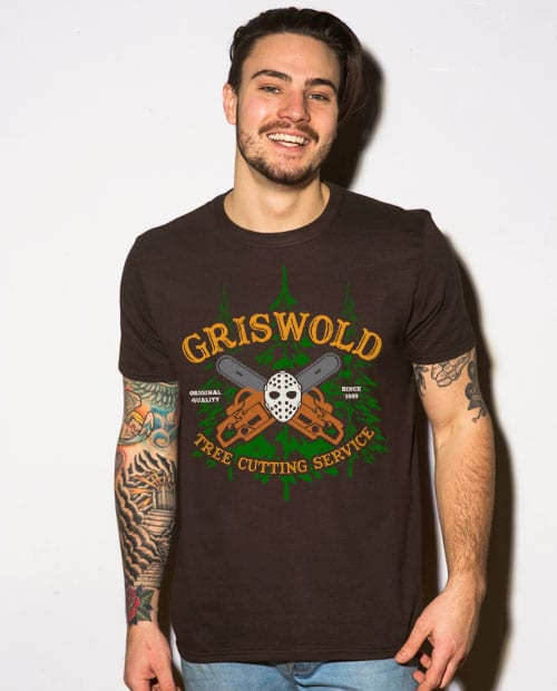 Griswold Tree Cutting Service Graphic T-Shirt - brown shirt design on a model