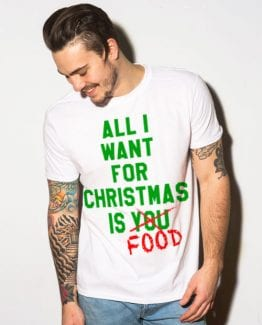 All I want for christmas is food Graphic T-Shirt - white shirt design on a model