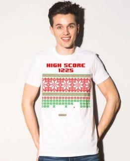 High Score Graphic T-Shirt - white shirt design on a model