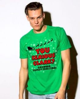 You Serious Clark? Graphic T-Shirt - green shirt design on a model