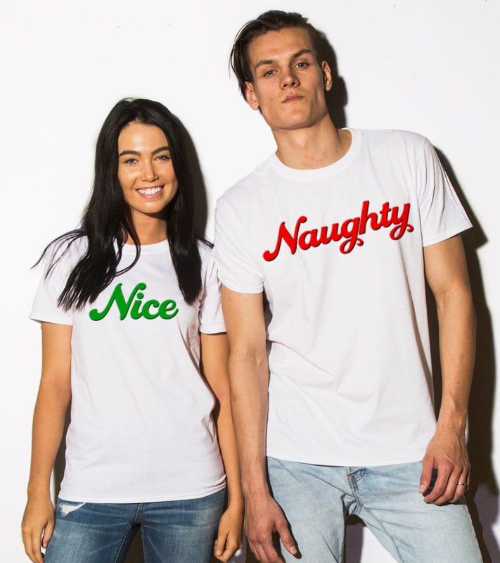 Nice/Naughty Graphic T-Shirt - white shirt design on models