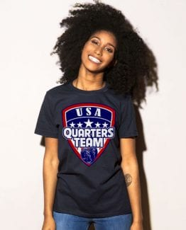 USA Quarters Team Graphic T-Shirt - navy shirt design on a model