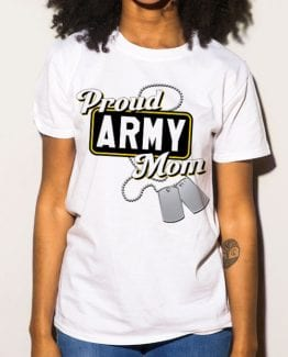 Proud Army Mom Graphic T-Shirt - white shirt design on a model