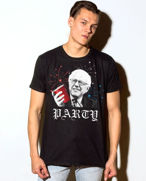 Party Bernie Sanders Graphic T-Shirt - black shirt design on a model