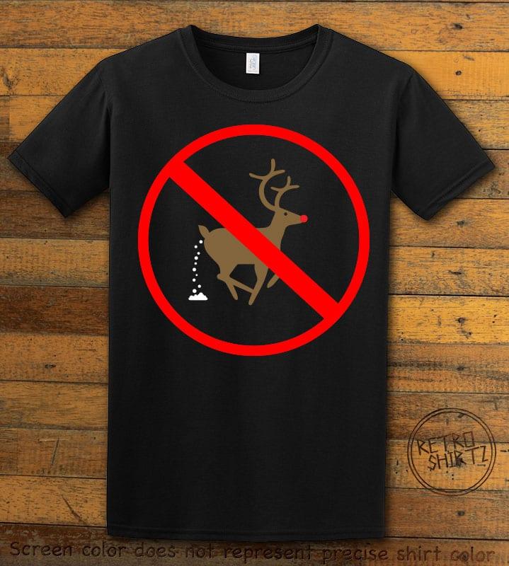 No Pooping Reindeer Graphic T-Shirt - black shirt design