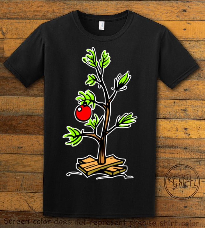 Charlie Brown Christmas Tree Graphic T-Shirt - black shirt design