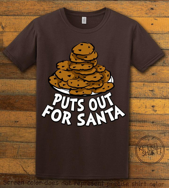 Puts Out For Santa Graphic T-Shirt - brown shirt design