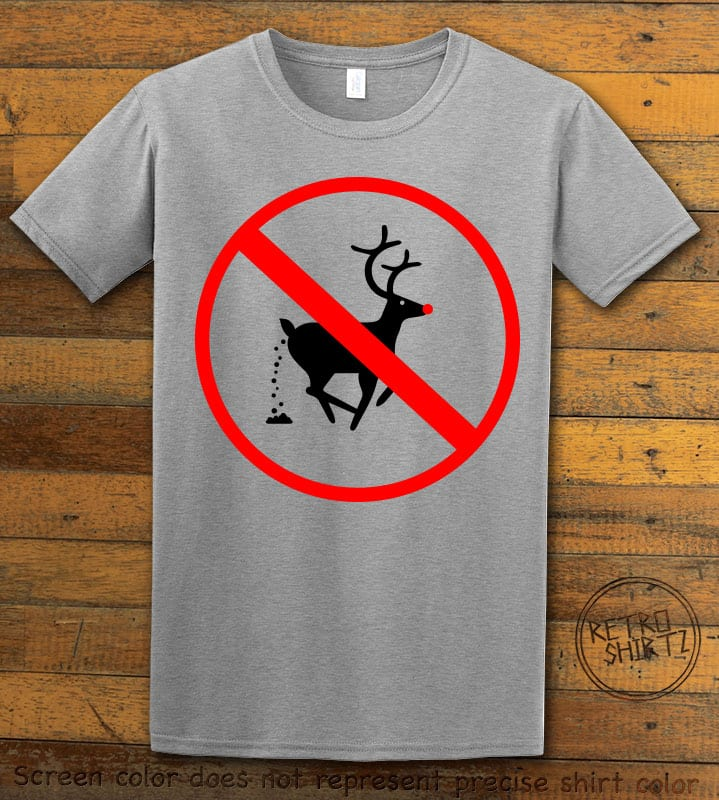 No Pooping Reindeer Graphic T-Shirt - grey shirt design