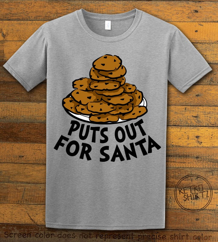 Puts Out For Santa Graphic T-Shirt - grey shirt design
