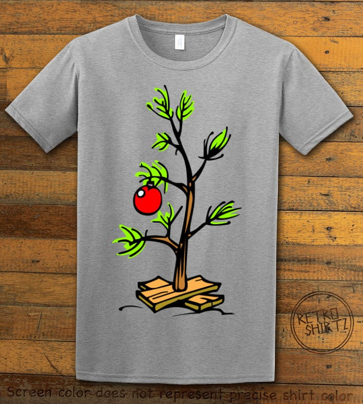 Charlie Brown Christmas Tree Graphic T-Shirt - grey shirt design