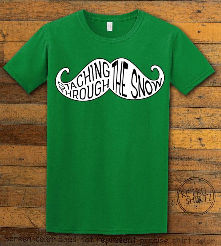 Staching Through The Snow Graphic T-Shirt - green shirt design