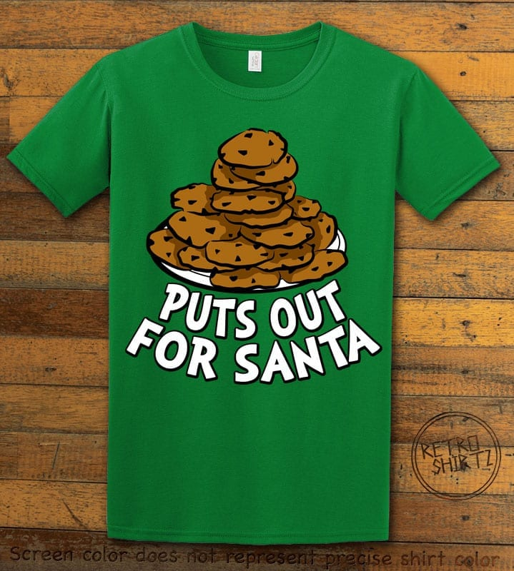 Puts Out For Santa Graphic T-Shirt - green shirt design