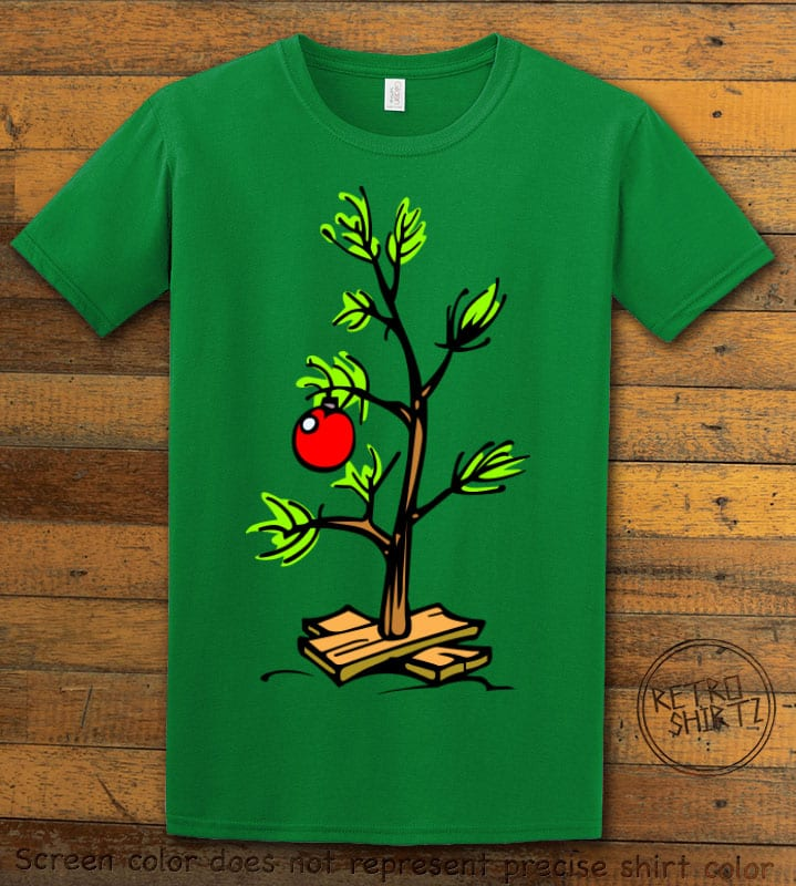 Charlie Brown Christmas Tree Graphic T-Shirt - green shirt design