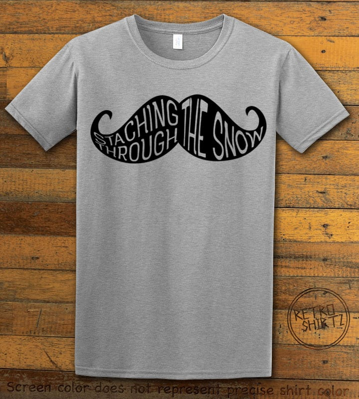 Staching Through The Snow Graphic T-Shirt - grey shirt design