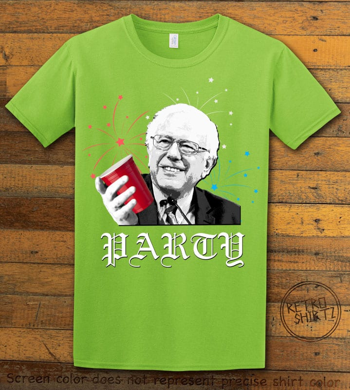 Party Bernie Graphic T-Shirt - lime shirt design