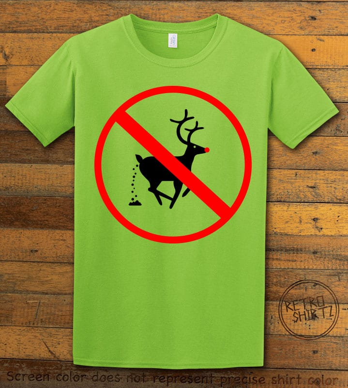 No Pooping Reindeer Graphic T-Shirt - lime shirt design