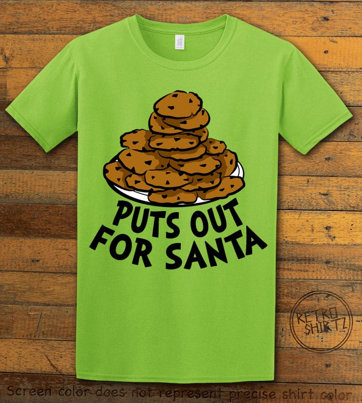 Puts Out For Santa Graphic T-Shirt - lime shirt design