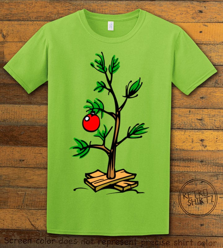 Charlie Brown Christmas Tree Graphic T-Shirt - lime shirt design