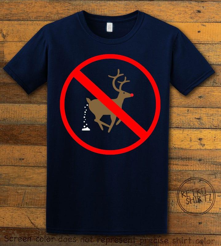No Pooping Reindeer Graphic T-Shirt - navy shirt design