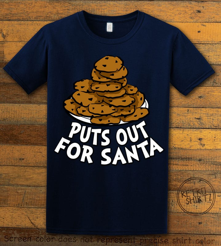 Puts Out For Santa Graphic T-Shirt - navy shirt design