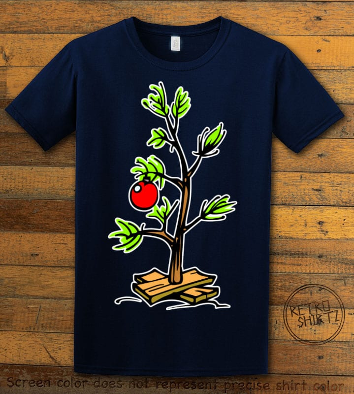 Charlie Brown Christmas Tree Graphic T-Shirt - navy shirt design