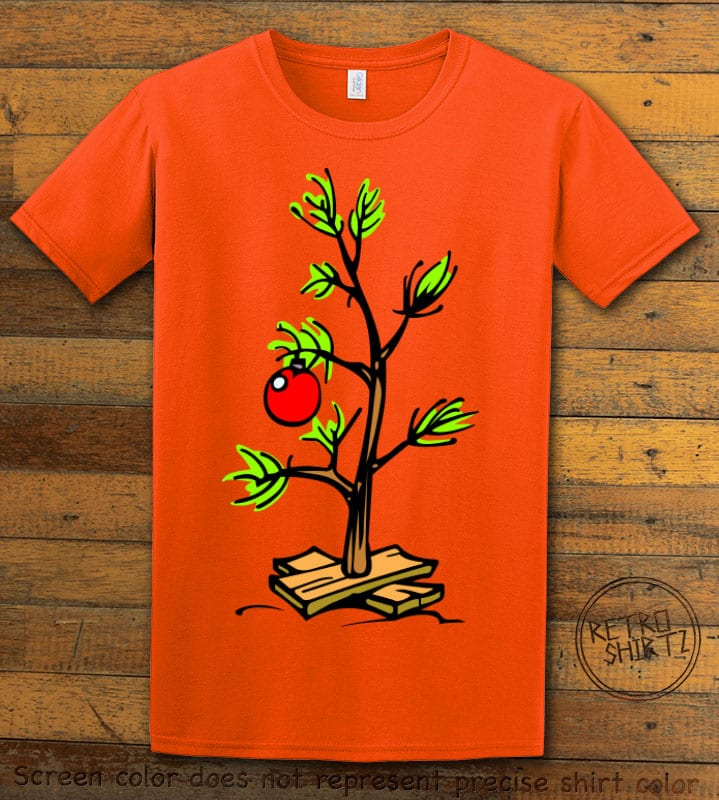 Charlie Brown Christmas Tree Graphic T-Shirt - orange shirt design