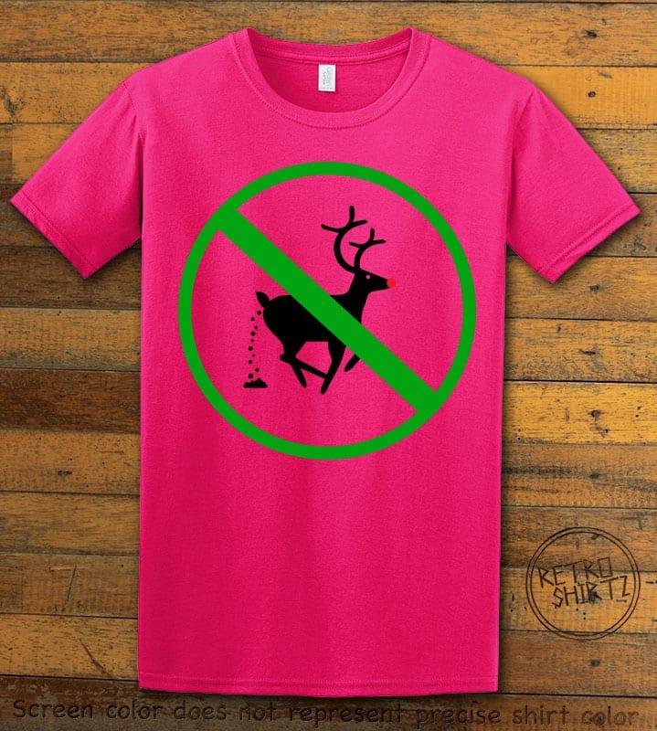 No Pooping Reindeer Graphic T-Shirt - pink shirt design