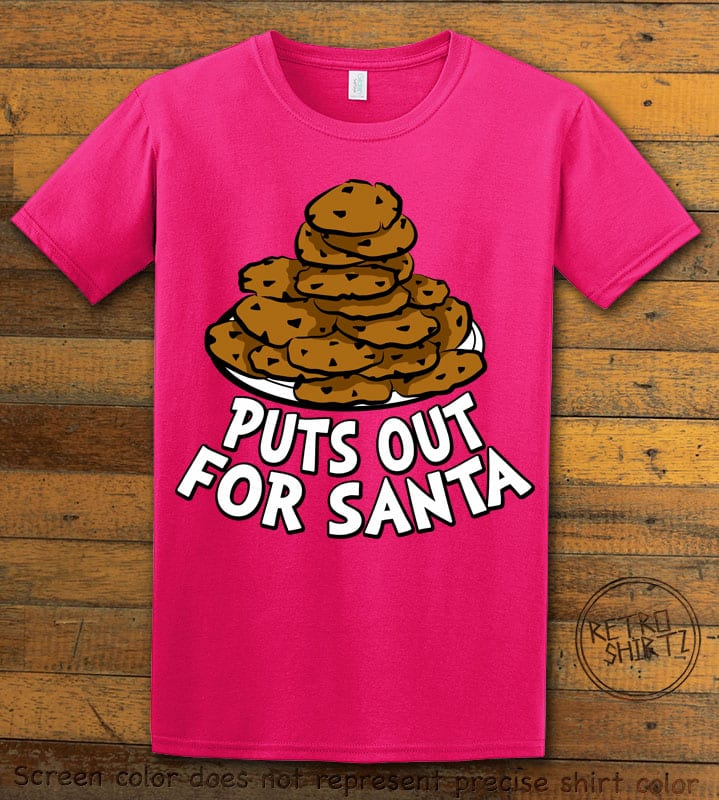 Puts Out For Santa Graphic T-Shirt - pink shirt design