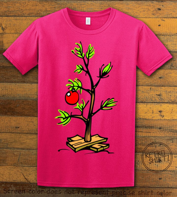 Charlie Brown Christmas Tree Graphic T-Shirt - pink shirt design