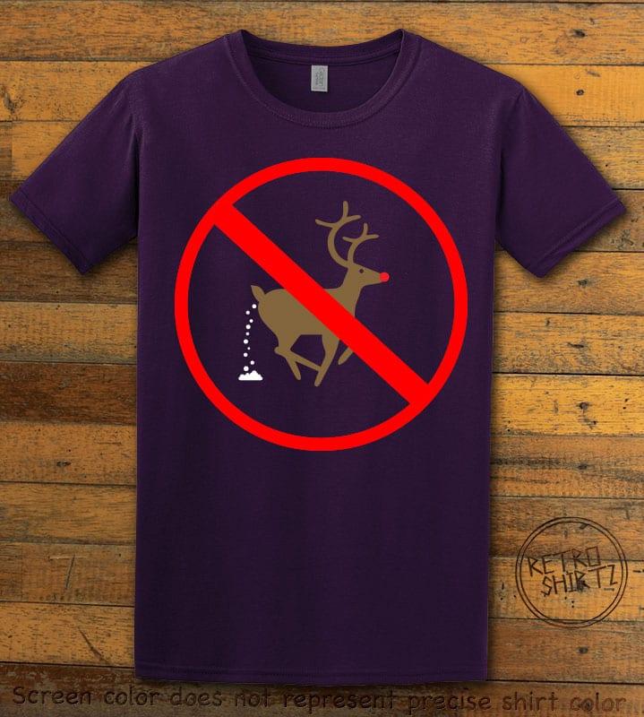 No Pooping Reindeer Graphic T-Shirt - purple shirt design