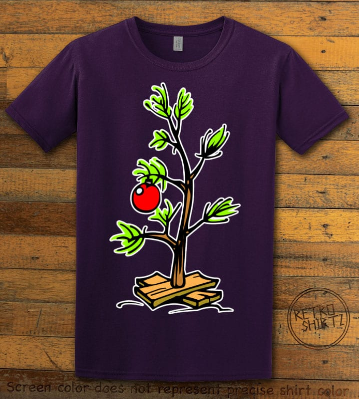 Charlie Brown Christmas Tree Graphic T-Shirt - purple shirt design