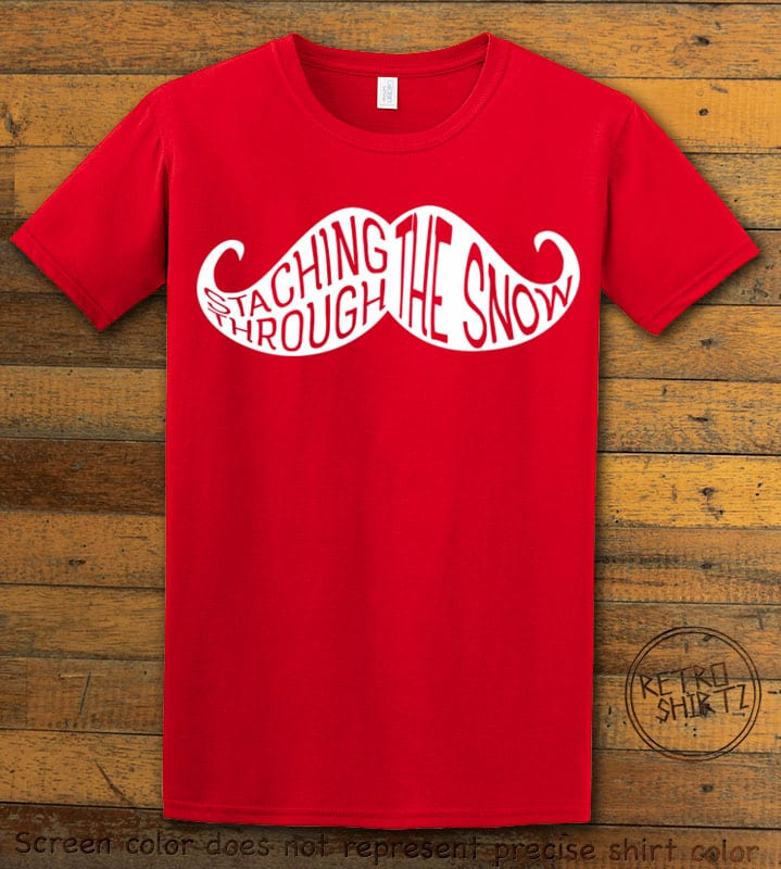 Staching Through The Snow Graphic T-Shirt - red shirt design