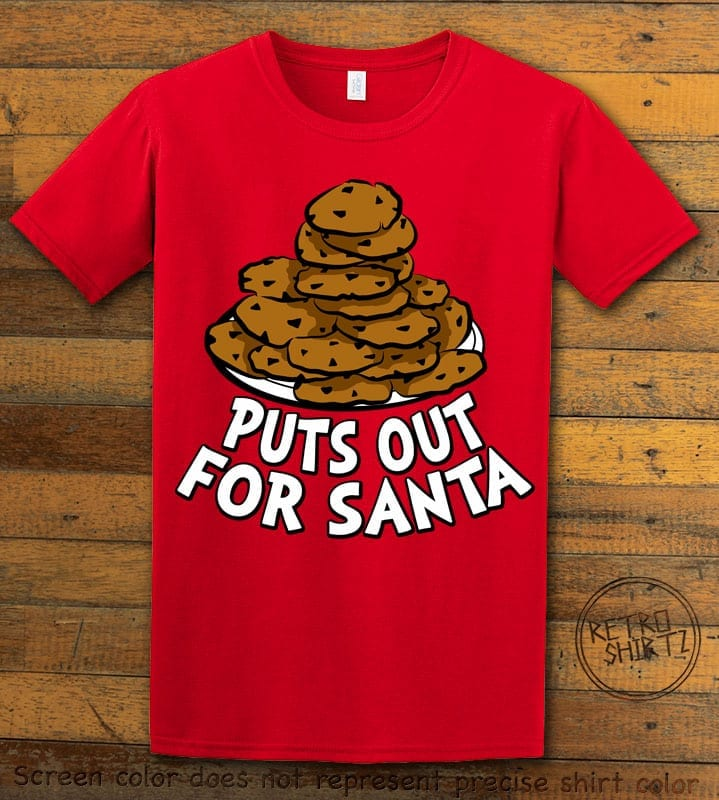 Puts Out For Santa Graphic T-Shirt - red shirt design
