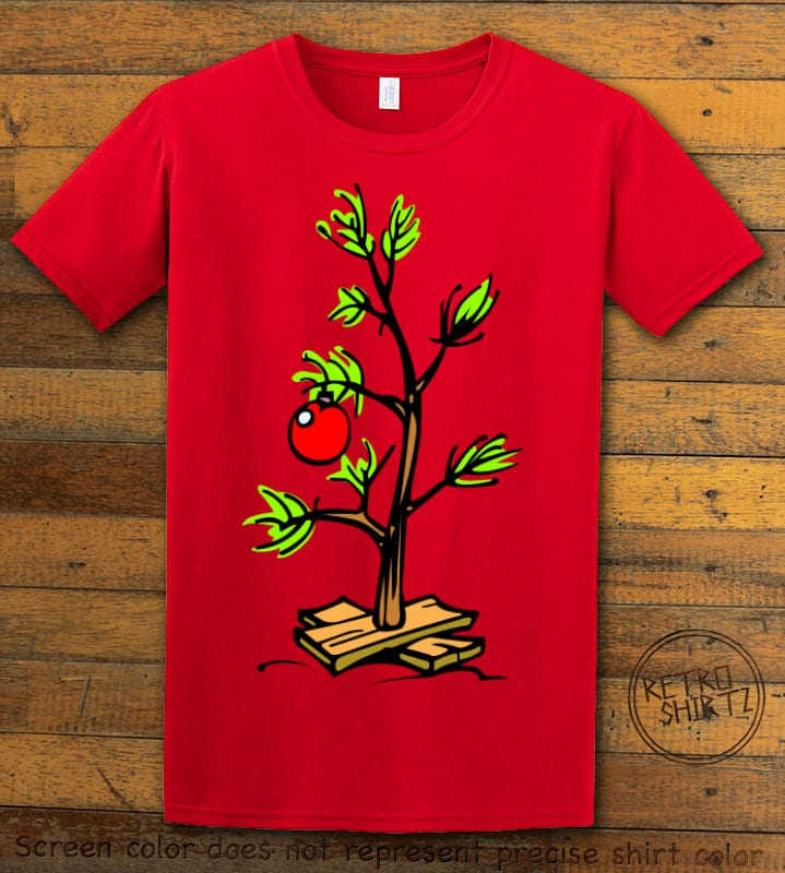Charlie Brown Christmas Tree Graphic T-Shirt - red shirt design