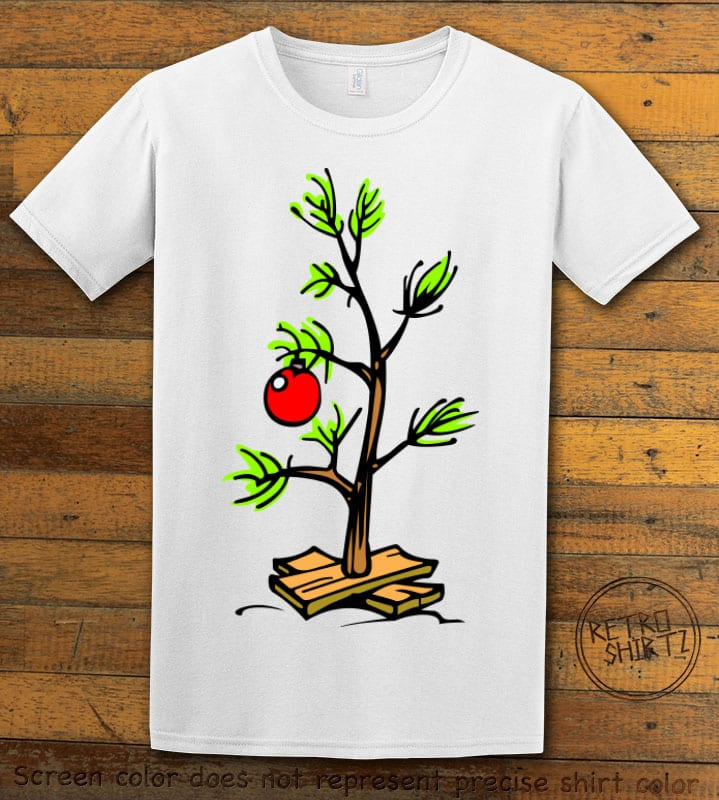 Charlie Brown Christmas Tree Graphic T-Shirt - white shirt design