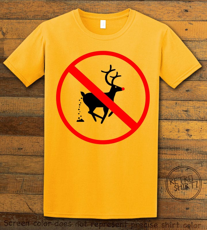 No Pooping Reindeer Graphic T-Shirt - yellow shirt design