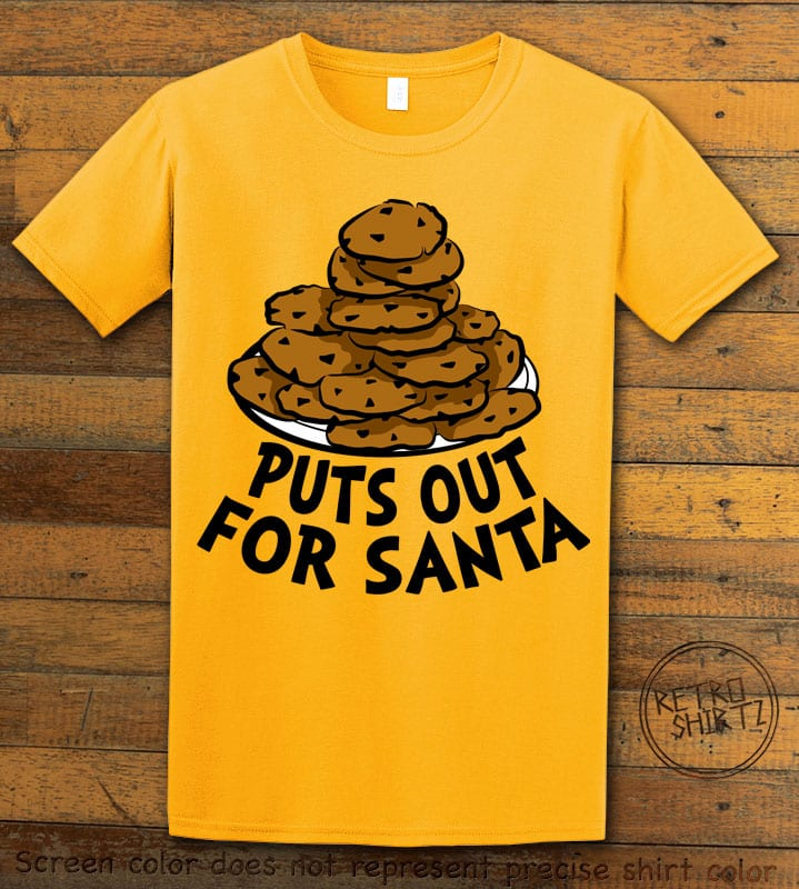 Puts Out For Santa Graphic T-Shirt - yellow shirt design