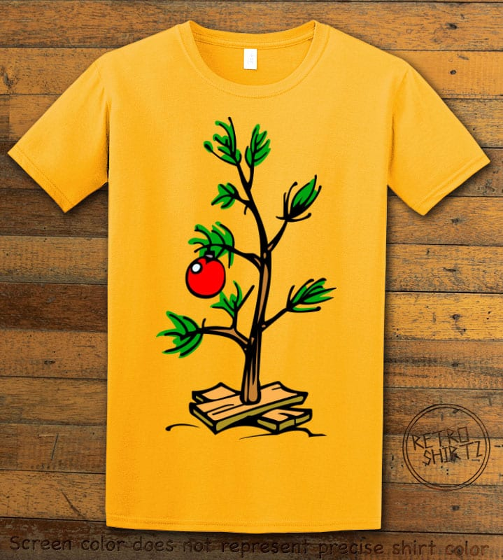 Charlie Brown Christmas Tree Graphic T-Shirt - yellow shirt design