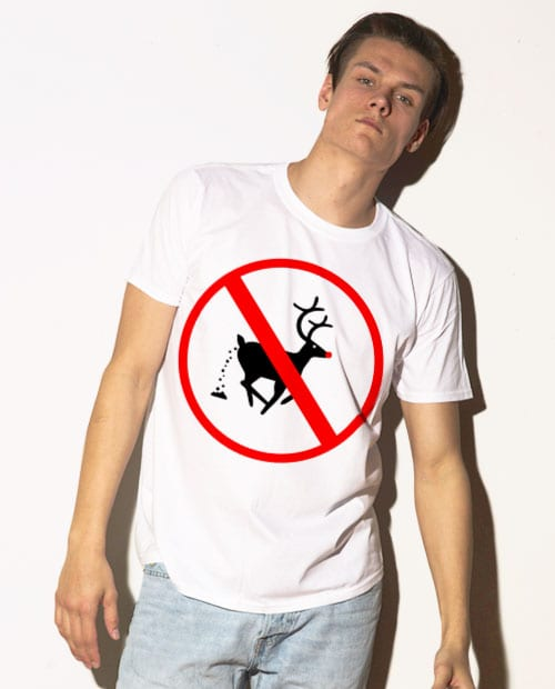 No Pooping Reindeer Graphic T-Shirt - white shirt design on a model