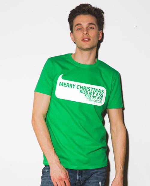 Speech Bubble Graphic T-Shirt - green shirt design on a model