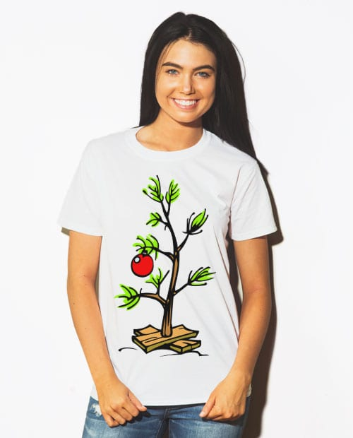 Charlie Brown Christmas Tree Graphic T-Shirt - white shirt design on a model
