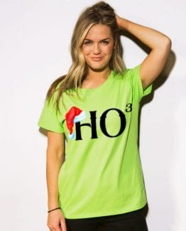 Ho Cubed - Graphic T-Shirt - lime shirt design on a model