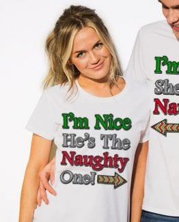 I'm Nice He's the Naughty One! Graphic T-Shirt - white shirt design on a model