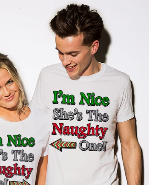 I'm Nice She's the Naughty One! Graphic T-Shirt - white shirt design on a model